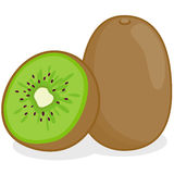 Kiwifruit. Vector Illustration of a whole and a sliced kiwifruit Royalty Free Stock Photo