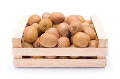 Kiwifruits in box. Ripe kiwifruits in wooden box. Chinese gooseberry Royalty Free Stock Image