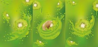 Kiwifruktsaftslut upp Ny fruktsaft med kiwin Färgstänk med kiwin var kan formgivare varje f?r objektoriginal f?r evgeniy diagram  royaltyfri illustrationer