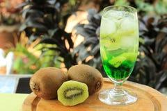 Kiwifruktsaftsodavatten Arkivfoto