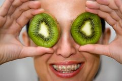 Kiwis on the eyes Royalty Free Stock Images