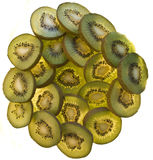 Kiwis in a round. Twenty kiwi sliced with light coming from the back on white background royalty free stock image