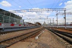 Kiyevskaya railway station  (Kiyevsky railway terminal,  Kievskiy vokzal) -- Moscow, Russia Royalty Free Stock Image