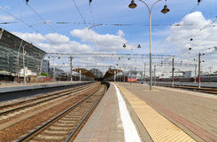 Kiyevskaya railway station  (Kiyevsky railway terminal,  Kievskiy vokzal) -- Moscow, Russia Royalty Free Stock Photos