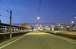 Kiyevskaya railway station  (Kiyevsky railway terminal,  Kievskiy vokzal) -- Moscow, Russia Royalty Free Stock Photo