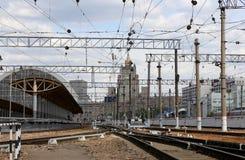 Kiyevskaya railway station  (Kiyevsky railway terminal,  Kievskiy vokzal) -- Moscow, Russia Stock Image