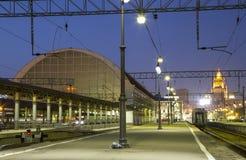 Kiyevskaya railway station  Kiyevsky railway terminal,  Kievskiy vokzal at night --Moscow, Russia Royalty Free Stock Photos