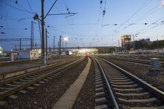 Kiyevskaya railway station  Kiyevsky railway terminal,  Kievskiy vokzal at night --Moscow, Russia Stock Photos