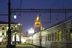 Kiyevskaya railway station  Kiyevsky railway terminal,  Kievskiy vokzal at night --Moscow, Russia Stock Image