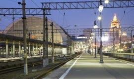 Kiyevskaya railway station  Kiyevsky railway terminal,  Kievskiy vokzal at night --Moscow, Russia Royalty Free Stock Photo
