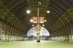 Kiyevskaya railway station  Kiyevsky railway terminal,  Kievskiy vokzal at night --Moscow, Russia Royalty Free Stock Images
