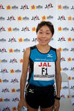 Kiyoko Shimahara. Posed for the press at the press conference after winning second place at the 37th Honolulu Marathon on December 13, 1009 Stock Images