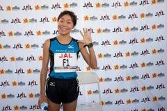 Kiyoko Shimahara bij de pers van de Marathon van Honolulu overlegt Royalty-vrije Stock Afbeeldingen