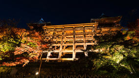 Kiyomizu  autumn night light up. Large wooden veranda Kiyomizu stage and autumn night light up in Kyoto, Japan Royalty Free Stock Images