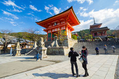Kiyomizu Dera寺庙在京都,日本 免版税图库摄影