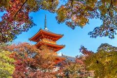 Kiyomizu-dera in autumn, Kyoto in Japan Stock Photos