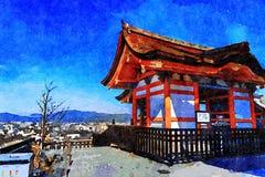 Kiyomizu-dera Temple, Higashiyama, Kyoto, Japan. Overlooking the city vector illustration