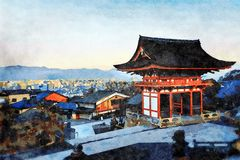 Kiyomizu-dera Temple, Higashiyama, Kyoto, Japan. Overlooking the city stock illustration