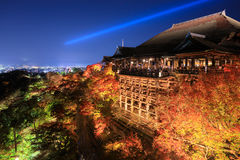 Kiyomizu dera temple ,light up in autumn, Kyoto, Japan Royalty Free Stock Photos