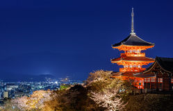 Kiyomizu dera temple ,light up in Spring, Kyoto, Japan Stock Photo