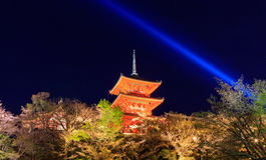 Kiyomizu dera temple ,light up in Spring, Kyoto, Japan Stock Photos