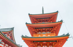 Kiyomizu-Dera Temple on a overcast spring day, Kyoto, Japan.  Royalty Free Stock Image