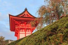 Kiyomizu-dera temple at sunset against blue sky background. Kyoto, Japan Royalty Free Stock Photos