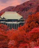 Kiyomizu-dera Temple Sunset Autumn Red Leaves V Stock Photos