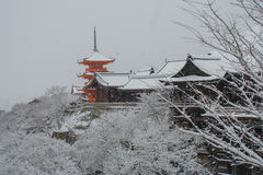 Kiyomizu-dera Temple. Kiyomizu-dera temple with white snow background at Kyoto, Japan Royalty Free Stock Images