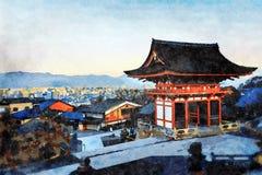 Kiyomizu-Deratempel, Higashiyama, Kyoto, Japan stock illustratie