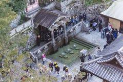 Kiyomizu-Deratempel Kyoto of de middelen van de tempelnaam stock afbeeldingen