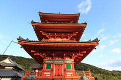 Kiyomizu tempel, Kyoto, Japan arkivfoton