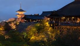 Kiyomizu tempel på natten i Japan Royaltyfria Bilder