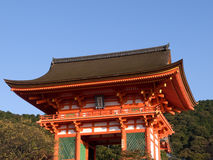 Kiyomizu temple. Gateway of Kiyomizu Temple in Kyoto Japan, with the mountains in the background royalty free stock images