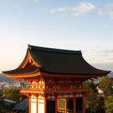 Kiyomizu temple. Gateway of Kiyomizu Temple in Kyoto Japan, with the city of Kyoto in the background. Kiyomizu-dera is one of the most famous and most visited royalty free stock images