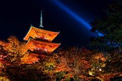 Kiyomizu temple with autumn light up, Kyoto Royalty Free Stock Photography