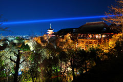 Kiyomizu temple at night Stock Photo