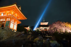 Kiyomizu temple at night in Japan Stock Photography