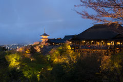 Kiyomizu temple at night Royalty Free Stock Photos