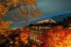 Kiyomizu Temple. At night with light up Royalty Free Stock Photos