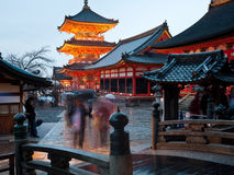 Kiyomizu temple in rain. Kiyomizu temple in the rain at night. Kiyomizu dera temple was founded in the early Heian period. The temple is part of the Historic Stock Photos