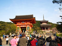 Kiyomizu temple with travelers , Kyoto ,Japan royalty free stock photo