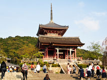 Kiyomizu temple with travelers at Kyoto , Japan stock photography