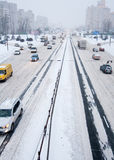 Kiyv traffic in a snowstorm stock photography