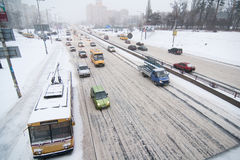 Kiyv traffic in a snowstorm Stock Images