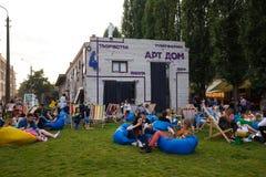 Kiyv uliczny karmowy festiwal Fotografia Stock