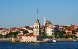 Kiz Kulesi in Istanbul (Maiden Tower). The Maiden's Tower (Kiz Kulesi), also known in the ancient Greek and medieval Byzantine periods as Leandros Tower, sits on Stock Image