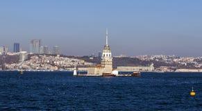 Kiz Kulesi, jungfru- torn för ` s, Istanbul Royaltyfri Foto