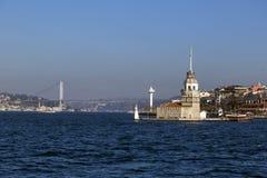 Kiz Kulesi, jungfru- torn för ` s, Istanbul Arkivbild