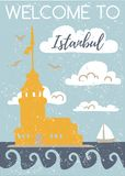 Welcome to Istanbul. Vertical vector illustration with a flat silhouette of the Maiden Tower. Card, poster, flier, print design. T. Urkish symbol in retro colors vector illustration